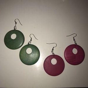 Wooden Dangle Earrings. Green & Pink.